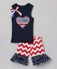 Loving this Beary Basics Navy Heart Tank & Red Ruffle Shorts - Infant, Toddler & Girls on #zulily! #zulilyfinds