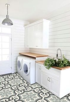 Vision for The Laundry Room & Craft Room {My New House!} - The Inspired Room - Laundry Room and Mudroom by Studio Mcgee :: The Inspired Room Vision for the Laundry and Craft Room - Laundry Room Tile, Farmhouse Laundry Room, Room Tiles, Laundry Room Storage, Laundry Room Design, Basement Laundry, Laundry Area, Laundry Closet, Farmhouse Flooring