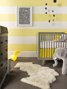 LOVING this yellow-and-white striped #nursery from Errikos Artdesign. Featuring the #oeuf Sparrow Crib, available at #polkadotpeacock. /ES