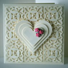 Eileen's Crafty Zone: Spellbinders Fleur De Lis Pendant Die and Nestabilities Hearts..... from 2010!