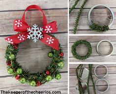 Mason Jar Lid Wreath Ornament - The Guardian of the CheeriosMason Jar Lid Wreath Ornament - The Guardian of the CheeriosOver 30 festive DIY Christmas wreaths with lots of instructionsOver 30 festive DIY Christmas wreaths Holiday Crafts, Christmas Wreaths, Christmas Crafts, Christmas Decorations, Christmas Ornaments, Easy Ornaments, Xmas, Christmas Tree, Jar Lid Crafts