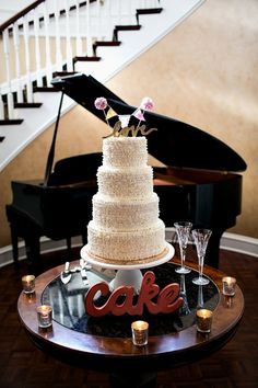 Simple wedding cake- love the topper! // photo by Melissa Tuck Photography  #cake #surpirse!