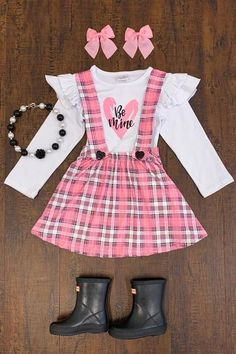 """Pink Plaid """"Be Mine"""" Suspender Skirt Set Little Girl Outfits, Cute Outfits For Kids, Toddler Girl Outfits, Toddler Boutique Clothing, Kids Clothing, Clothing Stores, Baby Girl Fashion, Kids Fashion, Stylish Toddler Girl"""