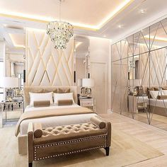 The way you decorate your home is somehow similar to choosing beautiful clothes to wear on a daily basis. An impressive interior decoration of your home or office is essential for your own state of mind, if nothing else. Modern Luxury Bedroom, Luxury Bedroom Design, Home Room Design, Master Bedroom Design, Luxurious Bedrooms, Interior Design, Interior Decorating, Bedroom False Ceiling Design, Master Bedroom Interior