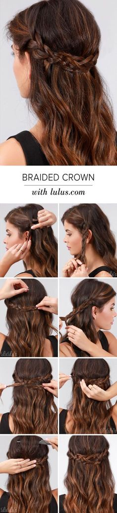 Pretty Braided Crown Hairstyle Tutorials and Ideas / http://www.himisspuff.com/easy-diy-braided-hairstyles-tutorials/32/