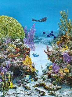 Sea of Life Prints and Original Featured at John Pennekamp Coral Reef State Park Underwater Painting, Underwater Life, Sea Plants, Beautiful Sea Creatures, Salt Water Fish, Sea Art, Sea And Ocean, Fantasy Landscape, Fish Art