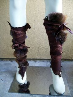 Forsworn Leg Wraps -- tribal leather greaves skyrim elder scrolls cosplay brown fur cuffs armor barbarian larp viking