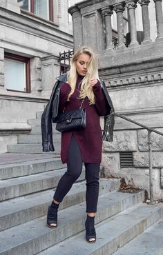 This slitted plum jumper looks stylish and quirky... - Street Style