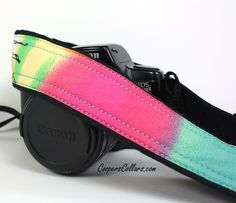 Watercolors 6 dSLR Camera Strap, One of a Kind, Pink, Orange, Yellow, Green, Blue.