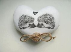 small wedding rings Heart shaped ring bearer pillow hedgehogs in love wedding ring bearer with lace cottage chic ivory w Small Wedding Rings, Heart Wedding Rings, Heart Cushion, Heart Pillow, Diy Wedding Video, Wedding Ideas, Ring Pillows, Ring Pillow Wedding, Heart Shaped Rings