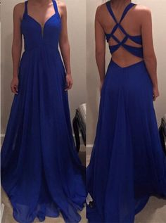 Sexy Royal Blue Prom Dress, Evening Party Gown Cross Back, Blue Prom Dress, Long…