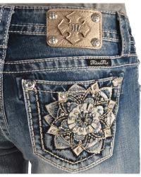 Miss Me Embellished Flower Pocket Bootcut Jeans - Sheplers