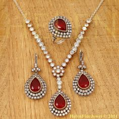 Hurrem Sultan Set Tear Drop Shape Ruby Color by helenfinejewels