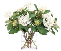 Natural Decorations, Inc. - Hydrangea White Green Glass Oval