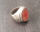 Carnelian Ring-Vintage Kuchi Ring-Vintage Ring-Collectors Ring-Dark Patina Ring-Unique Ring-Handcrafted Ring....