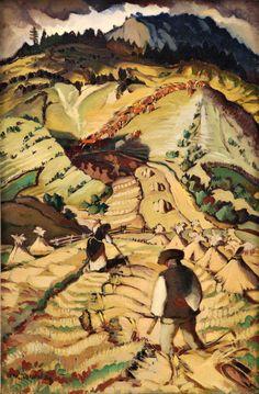 """"""" Martin Benka (Slovak, 1888 - - The Harvest Time (Po žatve), """" Matisse, Critique D'art, Chaim Soutine, Gauguin, Art Nouveau, Classic Paintings, Painting & Drawing, Landscape Paintings, Illustrators"""