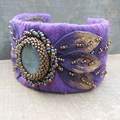 Labradorite Cuff Bracelet with Purple Dupioni Silk, Gold Tipped Leaves and Bead Embroidery by sylviawindhurst, via Flickr