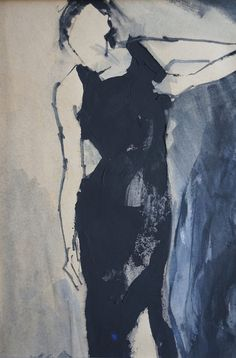 Woman in a little black dress on straps. Original by ankaGilding