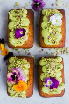 Pistachio & Lime Mini Loaves with Avocado Frosting - Phoebe Ann Conway Tea Cakes, Cupcake Cakes, Mini Loaf Cakes, Baking Recipes, Dessert Recipes, Lime Cake, Cafe Food, Mini Desserts, Gluten Free Desserts