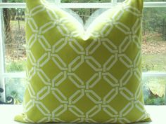 Lime Green white geometric pattern | ... Cover- 20x20-Throw Pillow-- Geometric Design -Lime and Off White
