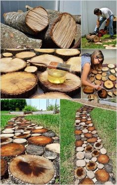 19 Amazing DIY Tree Log Projects for Your Garden,Tree logs and fallen tree trunks are great materials for nature-inspired garden decorations. They will add rustic touch to your garden and will be als. Log Projects, Diy Garden Projects, Diy Garden Decor, Garden Decorations, Barrel Projects, Candle Decorations, Balcony Decoration, Garden Crafts, Garden Paths