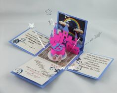 Custom Stationery Princess Theme Exploding Invitation for Quinceanera Party. Can be customized for Sweet Sixteen Party Invites, Bat Mitzvah or any occasion. Pop Up Invitation, Box Invitations, Sweet 16 Invitations, Invitation Ideas, Disney Wedding Invitations, Quinceanera Invitations, Quinceanera Party, Paper Cards, Diy Cards
