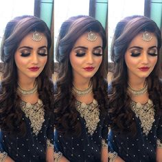 Our beautiful signature party makeup on this stunner! Love the glow , love the fresh feel 💕💕💕 Pakistani Bridal Makeup Hairstyles, Lehenga Hairstyles, Wedding Hairstyles For Girls, Bridal Hairstyle Indian Wedding, Hairstyles For Gowns, Engagement Hairstyles, Bridal Hair Buns, Open Hairstyles, Bridal Hairdo