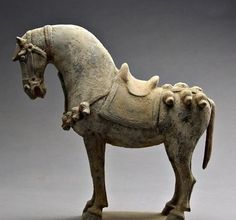 pottery horse | Details about Chinese rare Ceramic sculpture Pottery war horse Statue