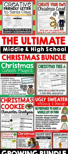 Middle and High School Christmas Writing: This discounted Ho Ho Holiday Bundle includes an array of different Christmas writing activities. These activities would be especially helpful around the months of November and December in an English Language Arts classroom, so unwrap a new activity for each of your classes!