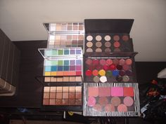 Palettes: Kryolan Neutral and Bright, MAC Neutrals, Lipsticks and Kryolan supracolors, RCMA KO( used for correctors/concealers) Z Palette Blush contours & bronzers