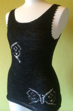 Knitting Pattern for Butterfly Tank - Sleeveless top with 2 lace butterfly motifs on the front and one on the back. Pictured project by staq