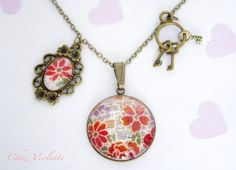 Necklace Japanese fabric  romantic floral pendant charm grey  bronze
