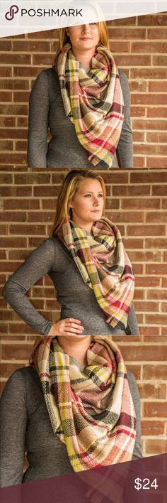 """Blanket Scarf Fall's most popular accessory! 60"""" x 60"""". These can be worn a million different ways! 100% acrylic. No trades. Wanna save? Buy 2 or more scarves and save 15% instead of the normal 10% bundle discount! There are 40 different prints in my closet! The easiest way to see them all is to narrow my closet with the search option: Accessories -> scarves :) The last pic is just to show examples on how to wear it! Kyoot Klothing Accessories Scarves & Wraps"""