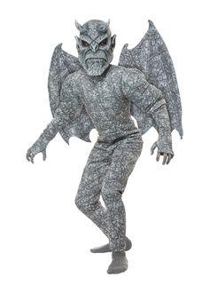 Mens Ladies Grey Stone Gargoyle Halloween Goblin Fancy Dress Costume Outfit Mask