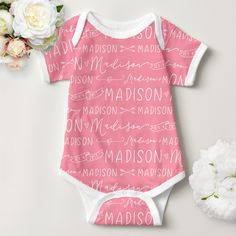 Add some personalization to your baby sewing project with this adorable name and birthdate fabric!