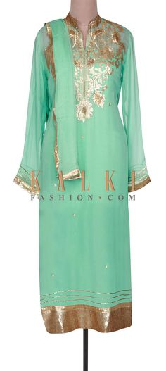 Buy Online from the link below. We ship worldwide (Free Shipping over US$100).  http://www.kalkifashion.com/ice-green-semi-stitched-suit-adorn-in-zari-embroidery-only-on-kalki.html