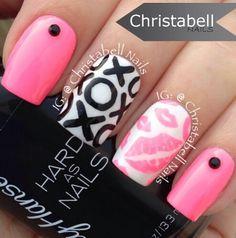 Neon pink xoxo nail art