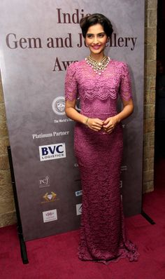 Sonam Kapoor in a frilly lace gown