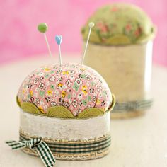 People who sew know how essential a pincushion is to their craft. So why not own one of these practical tools done in fun trims and fabrics? These charming cushions start with a kraft paper box for a solid base and feature a polyester fiberfill pouf on top to hold pins./