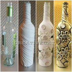 Bottle Art/Wine bottle craft/Bottle Transformation/Altered bottle/Bottle Decoration by Creative Cat Glass Bottle Crafts, Wine Bottle Art, Painted Wine Bottles, Diy Bottle, Clay Wall Art, Clay Art, Baby Food Jar Crafts, Plastic Bottle Flowers, Wine Craft