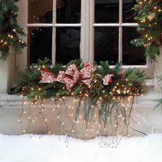 Need ideas for my window box. Outdoor Christmas Decorations For A Holiday Spirit/ Christmas Window Boxes, Christmas Window Decorations, Christmas Swags, Decorating With Christmas Lights, Christmas Holidays, Christmas Crafts, Family Holiday, Outdoor Decorations, Balcony Decoration