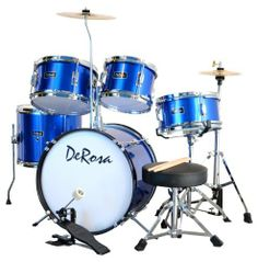 De Rosa DRM516-MBU 5-Piece Drum Set (Metallic Blue) by De Rosa. $192.68. This De Rosa 5-piece Junior Drum Set is a complete real drum set designed for your little up-and-coming drummer! It features floor-based hi-hat cymbal stand, metal parts and real wood shells - a very durable set that holds up under your child's playing. Kids love kids drums! Depending on your budget, your child can start with either a 3 or 5-piece drum set. If you're planning drum lessons for yo...