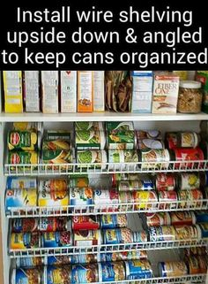 Install wire shelves upside down angled to store spray paint cans Home Chef, Pantry Organization, Small Kitchen Appliances, Kitchen Ideas, Deep Pantry Organization