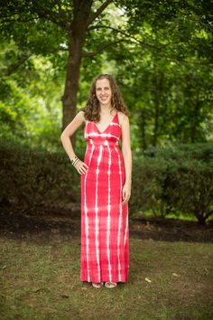 Coral - Red Tie Dye Maxi Dress