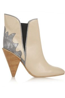 See by Chloé Metallic suede-paneled leather ankle boots | NET-A-PORTER