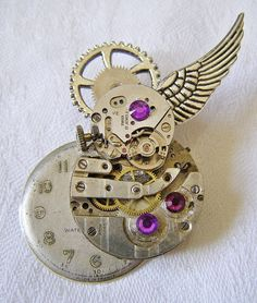 Winged Steampunk Brooch, Lapel Pin, Badge Handmade Arts and Craft, Industrial by ArtandThingsUK on Etsy
