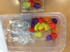 Packaging Fruit Work Box/Task: Take fruit shaped ice cubes and stick one of each kind in a pack for a simple packaging task!