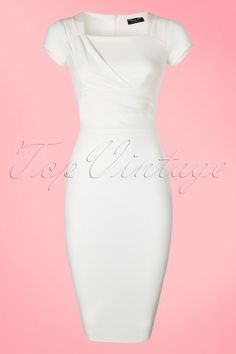 Vintage Chic - 50s Laila Pencil Dress in Ivory