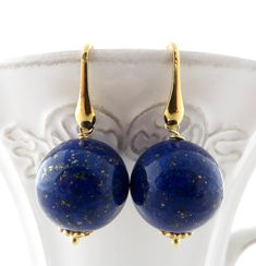 Blue lapis lazuli earrings, gold plated 925 sterling silver earrings, ball earrings, dangle earrings, natural stone jewelry, wedding jewelry