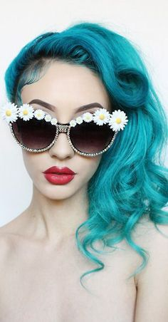 Turquoise hair.